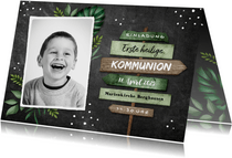 Einladung zur Kommunion Wegweiser & Foto Kreidetafel