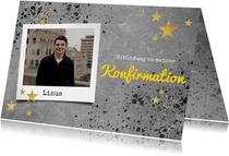 Einladung zur Konfirmation Betonlook, Foto und Sterne