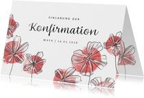 Einladung zur Konfirmation Blüten und Aquarell