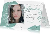 Einladung zur Konfirmation Farbkleckse, Foto und Blumen