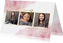 Einladung zur Konfirmation Fotos, Goldlook & Wasserfarbe