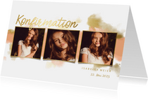 Einladung zur Konfirmationsfeier Fotocollage Goldlook