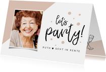 Einladung zur Rentnerfeier Foto rosa Konfetti