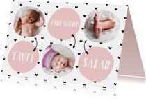 Einladung zur Taufe Fotos und rosa Kreise