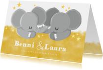Einladung zur Taufe Zwillinge mit niedlichen Elefanten