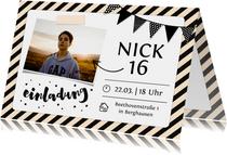 Einladungskarte 16. Geburtstag mit Foto und Rahmen