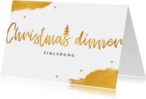 Einladungskarte Christmas dinner gold mit Sternen