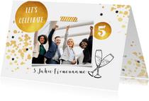 Einladungskarte Dienstjubiläum gold mit Foto