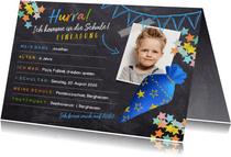 Einladungskarte Einschulung blaue Schultüte und Foto