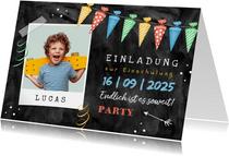 Einladungskarte Einschulung Foto und Schultütengirlande