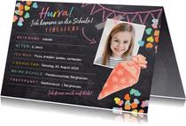 Einladungskarte Einschulung rosa Schultüte und Foto