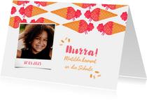 Einladungskarte Einschulung Schultüte Eis pink und Foto