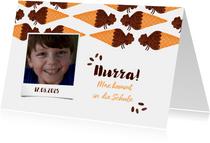 Einladungskarte Einschulung Schultüte Eis schoko und Foto