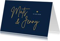 Einladungskarte Hochzeit klassisch Dunkelblau