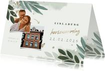 Einladungskarte Housewarming botanisch mit Fotos