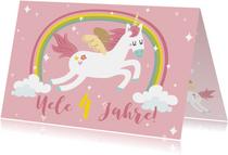 Einladungskarte Kindergeburtstag Einhorn und Regenbogen