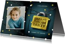 Einladungskarte Kindergeburtstag Escape Room Foto