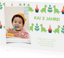 Einladungskarte Kindergeburtstag kleine Dinosaurier