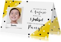 Einladungskarte Kindergeburtstag Konfetti und Foto