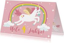 Einladungskarte Kindergeburtstag Regenbogen und Einhorn