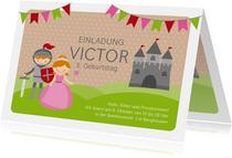 Einladungskarte Kindergeburtstag Ritter und Prinzessin