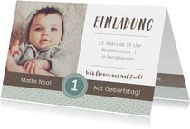Einladungskarte Kindergeburtstag sanftes Blau mit Foto