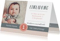 Einladungskarte Kindergeburtstag sanftes Rosé mit Foto