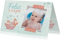 Einladungskarte Kindergeburtstag Schaumbad mit Füchsen