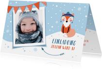 Einladungskarte Kindergeburtstag Schneefuchs