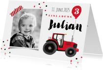 Einladungskarte Kindergeburtstag Traktor mit Luftballon