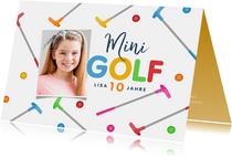 Einladungskarte Minigolf mit Foto, Schläger & Ball
