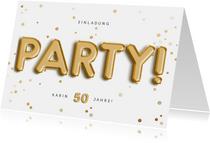 Einladungskarte mit Party Folienballons und Konfetti