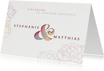 Einladungskarte mit Pfingstrosen und Ampersand