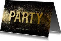Einladungskarte Party Typografie Goldlook
