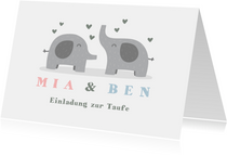 Einladungskarte Taufe Elefanten Zwilling Fotos innen