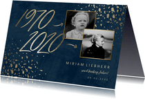 Einladungskarte zum 50. Geburtstag Jahreszahlen & Fotos