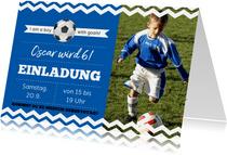 Einladungskarte zum Fußballgeburtstag Junge