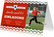 Einladungskarte zum Fußballgeburtstag Mädchen
