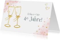 Einladungskarte zum Hochzeitstag Champagnergläser gold