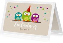 Einladungskarte zum Kindergeburtstag grüne Eule