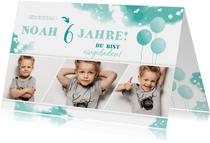 Einladungskarte zum Kindergeburtstag mit Fotocollage