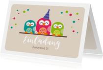 Einladungskarte zum Kindergeburtstag pinke Eule