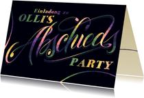 Einladungskarte zur Abschiedsparty mit Lettering