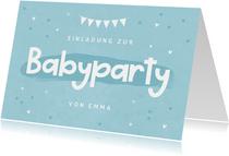 Einladungskarte zur Babyparty blau