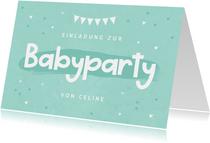 Einladungskarte zur Babyparty mintgrün