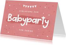 Einladungskarte zur Babyparty rosa