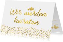 Einladungskarte zur Hochzeit im Goldlook mit Timeline