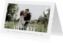 Einladungskarte zur Hochzeit mit Foto und Timeline