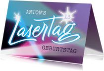 Einladungskarte zur Lasertag-Party mit Lettering