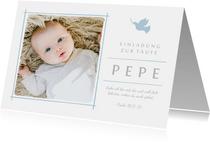 Einladungskarte zur Taufe Foto hellblaue Taube